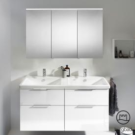 Burgbad Eqio bathroom furniture set 5 double washbasin with vanity unit and mirror cabinet front white high gloss / corpus white gloss, handles chrome