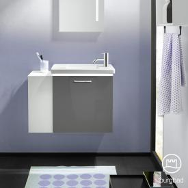 Burgbad Eqio ceramic washbasin with vanity unit with LED lighting with 1 flap door with open compartment front grey high gloss / corpus grey gloss, bar handle chrome