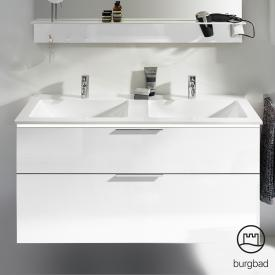 Burgbad Eqio double washbasin with vanity unit with LED lighting with 2 pull-out compartments front white high gloss / corpus white gloss, handles chrome