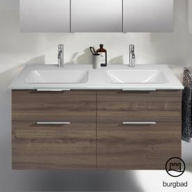 Burgbad Eqio double washbasin with vanity unit with 4 pull-out compartments front marone truffle decor / corpus marone truffle decor, handles chrome