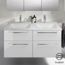 Burgbad Eqio double washbasin with vanity unit with 4 pull-out compartments front white high gloss / corpus white gloss, bar handles chrome