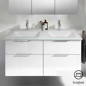 Burgbad Eqio double washbasin with vanity unit with 4 pull-out compartments front white high gloss / corpus white gloss, handles chrome
