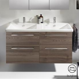 Burgbad Eqio double washbasin with vanity unit with 4 pull-out compartments front marone truffle decor / corpus marone truffle decor, bar handles chrome