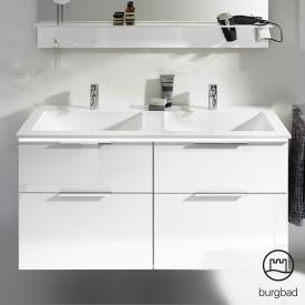 Burgbad Eqio double washbasin with vanity unit with LED lighting with 4 pull-out compartments front white high gloss / corpus white gloss, handles chrome