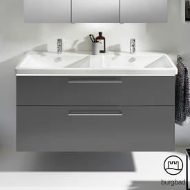 Burgbad Eqio double washbasin with vanity unit with LED lighting with 2 pull-out compartments front grey high gloss / corpus grey gloss / bar handles chrome