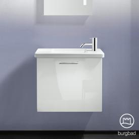 Burgbad Eqio hand washbasin with vanity unit with 1 flap door front white high gloss / corpus white gloss, bar handle chrome