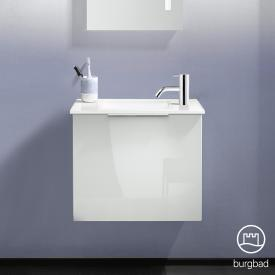 Burgbad Eqio hand washbasin with vanity unit with 1 flap door front white high gloss / corpus white gloss, handle chrome