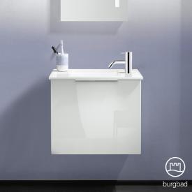 Burgbad Eqio Lave-mains en verre avec meuble sous-lavabo, 1 abattant Façade blanc ultra brillant/corps du meuble blanc brillant, poignée chromée
