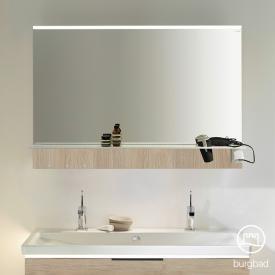 Burgbad Eqio mirror with horizontal LED clip-on light and shelf cashmere oak decor