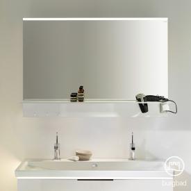 Burgbad Eqio mirror with horizontal mounted LED light and shelf white gloss