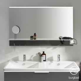 Burgbad Eqio mirror with horizontal LED clip-on light and shelf grey gloss