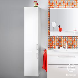 Burgbad Eqio tall unit with 2 doors and 1 inner drawer front white high gloss / corpus white gloss, bar handles chrome