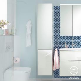 Burgbad Eqio tall unit with 2 doors, top door mirrored front white high gloss / corpus white gloss, handles chrome