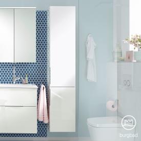 Burg Eqio tall unit with 2 doors and 1 inner drawer front white high gloss / corpus white gloss, handles chrome