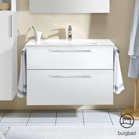 Burgbad Eqio washbasin with vanity unit with 2 pull-out compartments front white high gloss / corpus white gloss, bar handles chrome