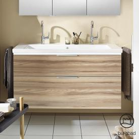 Burgbad Eqio double washbasin with vanity unit with LED lighting with 2 pull-out compartments front frassino cappuccino decor / corpus frassino cappuccino decor, handle chrome