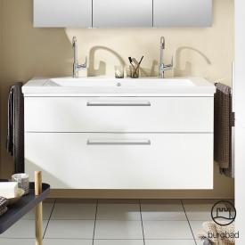 Burgbad Eqio washbasin with vanity unit with LED lighting with 2 pull-out compartments front white high gloss / corpus white gloss, bar handle chrome