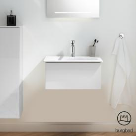 Burgbad Essence vanity unit with 1 pull-out compartment front white high gloss / corpus white high gloss