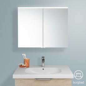 Burgbad Euro mirror cabinet with LED lighting and 2 doors cashmere oak decor