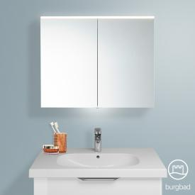 Burgbad Euro mirror cabinet with LED lighting and 2 doors front mirrored / corpus white high gloss