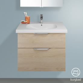 Burgbad Euro vanity unit with 2 pull-out compartments front cashmere oak decor / corpus cashmere oak decor