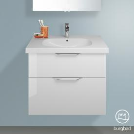 Burgbad Euro vanity unit with 2 pull-out compartments front white high gloss / corpus white high gloss