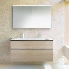Burgbad Fiumo bathroom furniture set double washbasin with vanity unit and mirror cabinet front cashmere oak decor / corpus cashmere oak decor, handle strip matt black