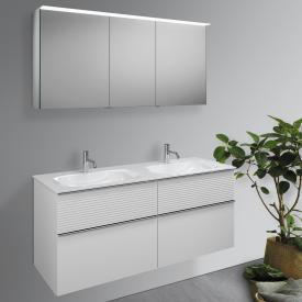 Burgbad Fiumo bathroom furniture set double washbasin with vanity unit and mirror cabinet front matt white / corpus matt white, handle strip chrome