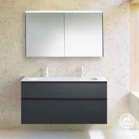 Burgbad Fiumo bathroom furniture set mineral cast washbasin with vanity unit and mirror cabinet front soft matt graphite/corpus soft matt graphite
