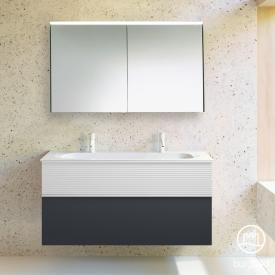 Burgbad Fiumo bathroom furniture set mineral cast washbasin with vanity unit and mirror cabinet front soft matt graphite/matt white/corpus soft matt graphite
