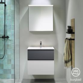 Burgbad Fiumo bathroom furniture set mineral cast washbasin with vanity unit and mirror cabinet front matt white/soft matt graphite/corpus matt white