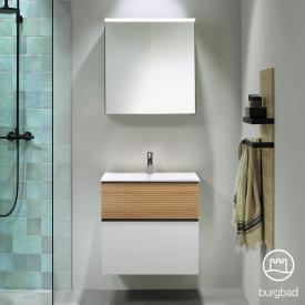 Burgbad Fiumo bathroom furniture set mineral cast washbasin with vanity unit and mirror cabinet front matt white/tectona cinnamon decor/corpus matt white