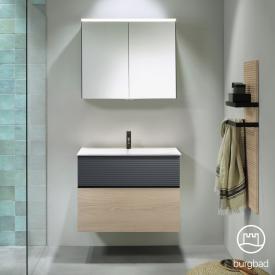 Burgbad Fiumo bathroom furniture set mineral cast washbasin with vanity unit and mirror cabinet front cashmere oak decor/soft matt graphite/corpus cashmere oak decor