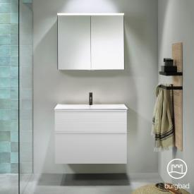 Burgbad Fiumo bathroom furniture set mineral cast washbasin with vanity unit and mirror cabinet front matt white/corpus matt white