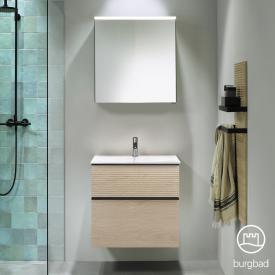 Burgbad Fiumo bathroom furniture set washbasin with vanity unit and mirror cabinet front cashmere oak decor / corpus cashmere oak decor, handle strip matt black