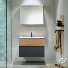 Burgbad Fiumo bathroom furniture set washbasin with vanity unit and mirror cabinet front soft matt graphite/tectona cinnamon decor / corpus soft matt graphite, handle strip matt black