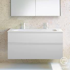 Burgbad Fiumo double washbasin with vanity unit with 2 pull-out compartments front matt white / corpus matt white, handle strip matt white