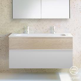 Burgbad Fiumo double washbasin incl. vanity unit, 2 pull-out compartments, white washbasin front matt white/cashmere oak decor/corpus matt white