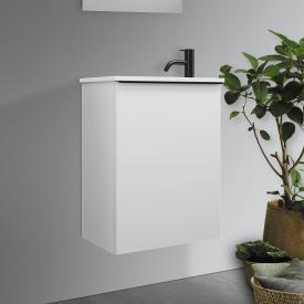 Burgbad Fiumo hand washbasin with vanity unit with 1 door front matt white / corpus matt white, handle strip matt black