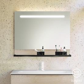 Burgbad Fiumo illuminated mirror with horizontal LED lighting front mirrored/corpus cashmere oak decor