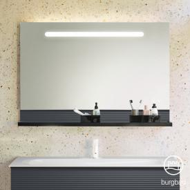 Burgbad Fiumo illuminated mirror with horizontal LED lighting front mirrored/corpus soft matt graphite