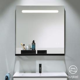 Burgbad Fiumo illuminated mirror with horizontal LED lighting matt white, rail black