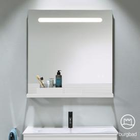 Burgbad Fiumo illuminated mirror with horizontal LED lighting front mirrored/corpus matt white