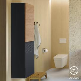 Burgbad Fiumo tall unit with 2 doors front soft matt graphite/tectona cinnamon decor/corpus soft matt graphite