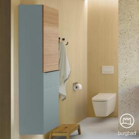 Burgbad Fiumo tall unit with 2 doors front soft matt ice blue/tectona cinnamon decor/corpus soft matt ice blue