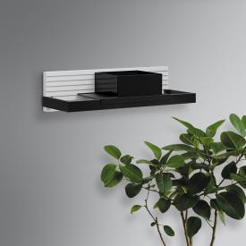 Burgbad Fiumo wall rack with metal rail matt white, rail black