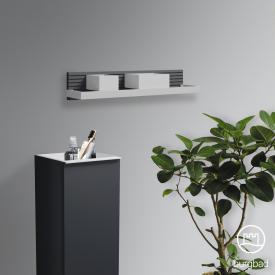 Burgbad Fiumo wall rack with metal rail soft matt graphite, rail white