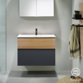Burgbad Fiumo washbasin with vanity unit with 2 pull-out compartments front soft matt graphite/tectona cinnamon decor / corpus soft matt graphite, handle strip matt black