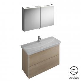 Burgbad Iveo washbasin with vanity unit and mirror cabinet front cashmere oak decor / corpus cashmere oak decor
