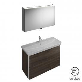 Burgbad Iveo washbasin with vanity unit and mirror cabinet front marone truffle decor / corpus marone truffle decor